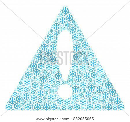 Fail Triangle Sign Concept Designed Of Snowflake Pictograms. Vector Snowflake Items Are Combined Int