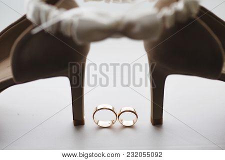 Wedding Rings Near The Luxury Wedding Shoes