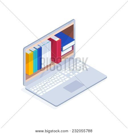 Online Library Isometric Concept. 3d Books On The Computer Screen. Reading Electronic Books Online O