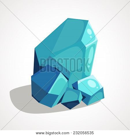 Cartoon Blue Crystal Jewelry Is A Precious Stone. Vector Element