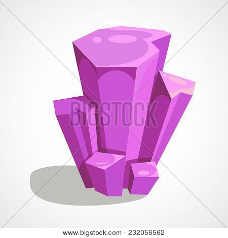 Cartoon Purple Crystal Jewelry Is A Precious Stone. Vector Game Design Elements