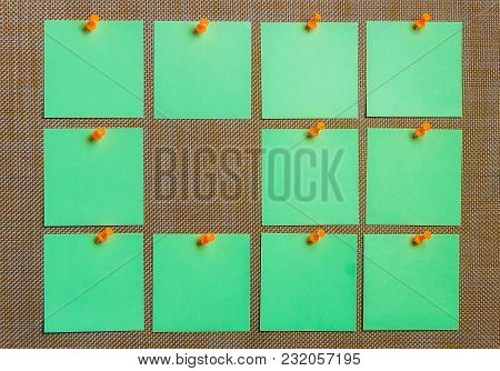 Stationary, Blank Green Sticker Pined On Brown Board. Flat Lay. Time-management, Planning