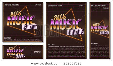 The Poster In Vintage Style On A Retro Party Banner, Invitation, Flyer, Advertising. Vector Illustra