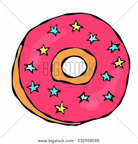 Sweet Donut With Pink Sugar Glaze, Blue And Yellow Stars Topping. Pastry Shop, Confectionery Design.