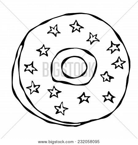 Sweet Donut With Sugar Glaze, Blue And Yellow Stars Topping. Pastry Shop, Confectionery Design. Roun