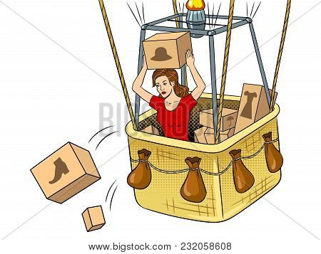 Girl Throws Out Boxes With Clothes And Shoes From Air Balloon Basket Pop Art Retro Vector Illustrati