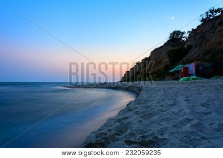 The Charming Evening Landscape Of The Black Sea And The Lunar Sky Over It 2018