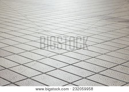 Background Of Perspective Pattern Of Square Pavement Street Floor, Shadow Depth Of Field.
