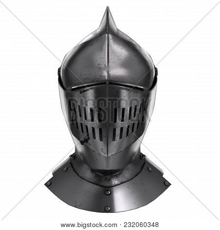 Medieval Knight Armet Helmet With Visor. Front View. Used For Tournaments Or Battlefields. 3d Render