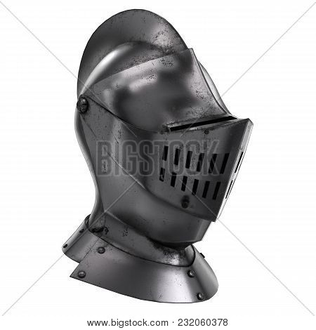 Medieval Knight Armet Helmet With Visor. Perspective View. Used For Tournaments Or Battlefields. 3d