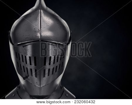 Background With Medieval Knight Armet Helmet. Front View With Space For Text. Used For Tournaments O
