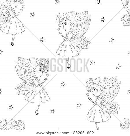 Cartoon Positive Seamless Pattern With Cute Fairy
