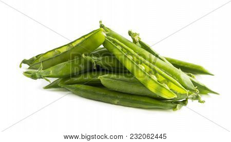 Green Peas Isolated On A White Background. Vegetables With Copy Space For Text. Fresh Green Peas On