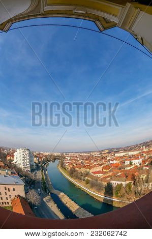 Aerial View From The City Hall Tower Over Oradea Town With Historic Buildings And River Crisul Reped