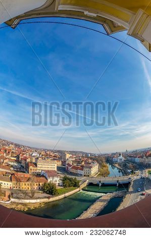 Aerial View From The City Hall Tower Over Oradea Town Center With Historic Buildings, River Crisul R