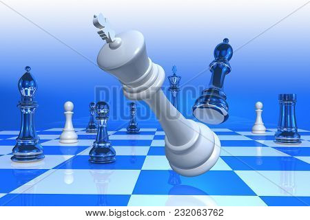 3d Rendering Of A Checkmate With The King Falling