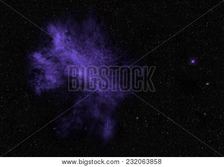 Ultra Violet Nebula And Twinkling Stars, Universe, Traveling Through Deep Space, Imaginary Nebula, S