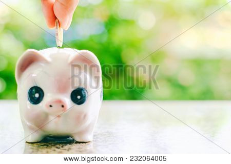 Hand Saving A Coin Into Piggy Bank On Blurred Green Natural Background With Copy Space For Money Inv