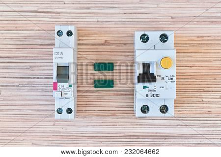 Two Identical Circuit Breakers Of Differential Current But Different In Size. Double-pole Differenti