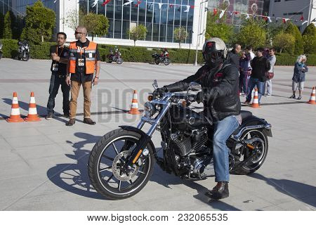 Antalya, Turkey - May 21, 2017: Antalya, Harley Davidson Motor Convoys On The Road. Festival Name Is