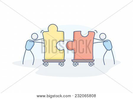 Business concept for teamwork, partnership, solution, collaboration, support. Vector doodle illustration design with stick figure characters