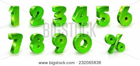 Numbers 1, 2, 3, 4, 5, 6, 7, 8, 9, 0 And Percent Sign Set Suitable For Use On Web And Advertising Ba