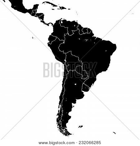 South America Silhouette Vector Map. Black And White Version Usable For Travel Marketing, Real Estat