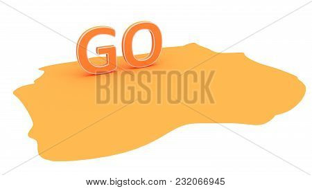 Orange Background With The Text Go. 3d Illustration In Perspective