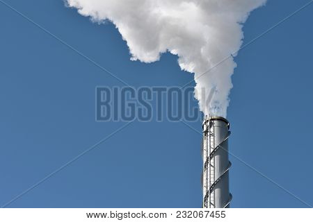 Smoke From The Chimney Of The Industrial Plant. Industrial, Ecology And Environmental Protection.