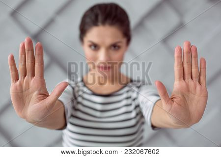 Stop Violence. Selective Focus Of Hands Of Nice Attractive Woman While Saying Stop To Violence