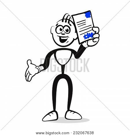 Stickman Presents Contract Signed. Emotional Business Icon For Digital Marketing And Print. Stickman