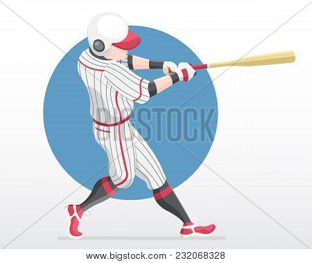 Flat Style Baseball Player In Red Team Shirt In Full Swing Action Illustration