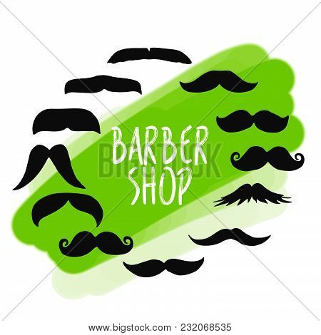 Set Of Barber Shop Mustache Icons. Business Icons For Digital Marketing And Print.