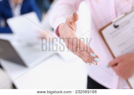 Businesswoman Offer Hand To Shake As Hello In Office Closeup. Serious Business Friendly Support Serv
