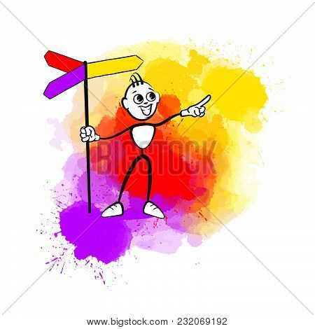Man Pointing Up. Emotional Business Icon For Digital Marketing And Print. Stickman Series.