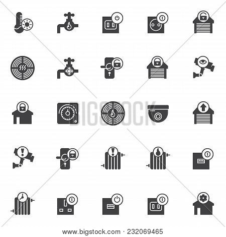 Automation Elements Vector Icons Set, Modern Solid Symbol Collection, Filled Style Pictogram Pack. S