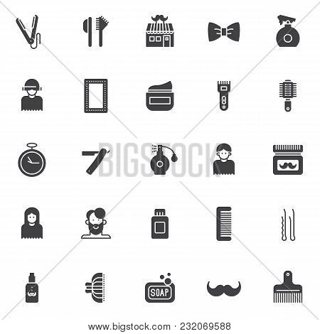 Barber Vector Icons Set, Modern Solid Symbol Collection, Filled Style Pictogram Pack. Signs, Logo Il