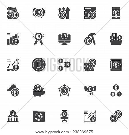Bitcoin Vector Icons Set, Modern Solid Symbol Collection, Filled Style Pictogram Pack. Signs, Logo I
