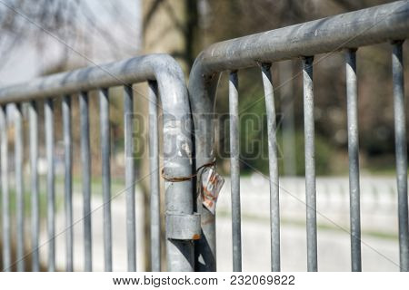 Fence In Public Park, Safety Access In Entrance.