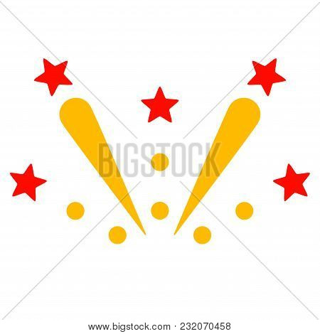 Fireworks Explosion Vector Pictogram. Illustration Style Is A Flat Iconic Symbol.