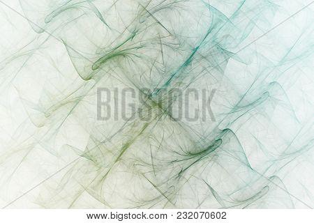 Bright Abstract Fractal Blue And Green Veil Of Fantasy, Fractal Waves Fantasy