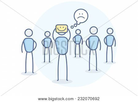 Depressed Cartoon Character Hiding His True Feelings. Vector Illustration For Loneliness, Depression