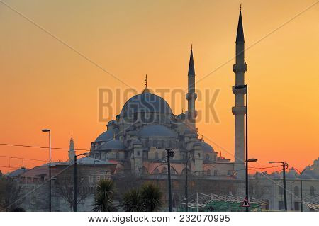 Istanbul, Turkey - March 24, 2012: New Mosque At Sunset.
