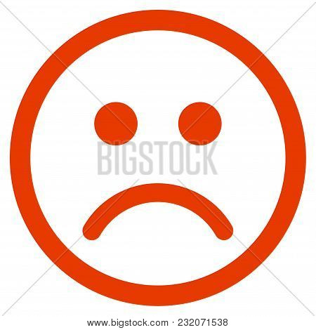 Sad Smiley Vector Pictogram. Illustration Style Is A Flat Iconic Symbol.
