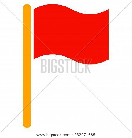 Waving Flag Vector Pictogram. Illustration Style Is A Flat Iconic Symbol.
