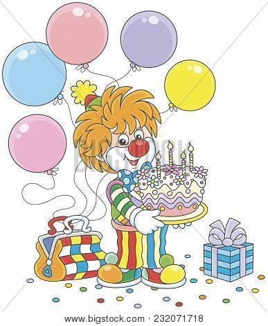 Friendly Smiling Circus Clown In A Colorful Suit With A Birthday Cake, Balloons And A Gift, A  Vecto