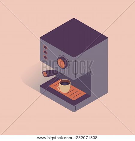 Vector Illustration With 3d Electric Coffee Machine. Coffee Equipment In Isometric Flat Style On Pin