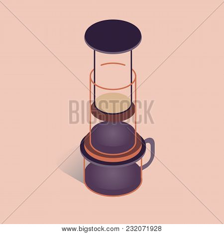 Vector Illustration With 3d Coffee Aeropress. Coffee Maker In Isometric Flat Style On Pink Backgroun