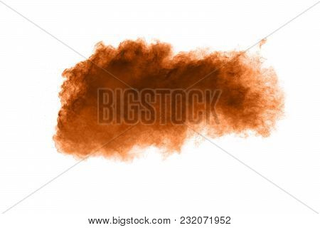 Freeze Motion Of Brown Dust Explosion. Stopping The Movement Of Brown Powder. Explosive Brown Powder