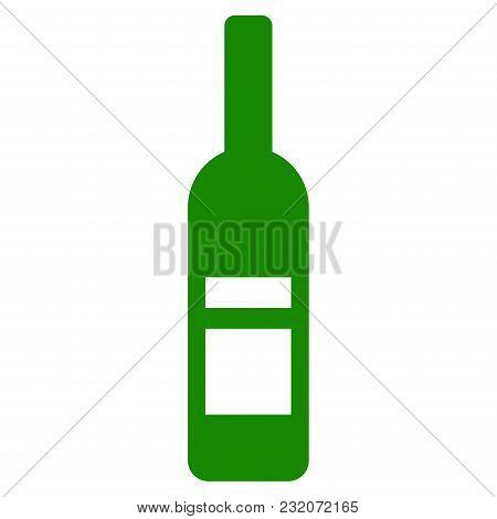 Wine Bottle Vector Pictogram. Illustration Style Is A Flat Iconic Symbol.